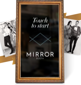 A graphic showcasing the Mirror Booth Company's product and service with two black and white photos adjacent to it of people celebrating at a party in Kelowna